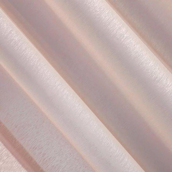 Firana różowa zwiewna o strukturze deszczyku 140 x 300 cm na taśmie  - 140 X 300 cm