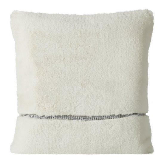 Poszewka na poduszkę 45 x 45 cm kremowa futerko z połyskującym paskiem  - 45 X 45 cm - kremowy