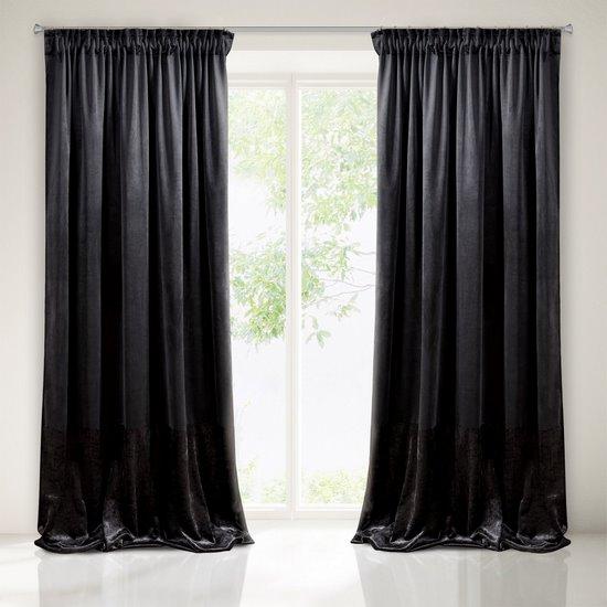 Zasłona z dwóch rodzajów tkaniny welwetowej 140 x 270 cm czarna na taśmie  - 140x270 - czarny