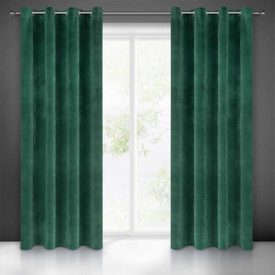 Zasłona welwetowa zielona 140x250 10 przelotek - 140x250 - zielony