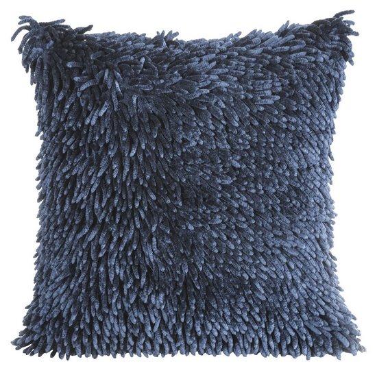 Ciemnoniebieska POSZEWKA OZDOBNA shaggy 40x40 cm - 40 X 40 cm