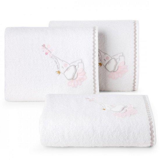 Ręcznik dziecięcy z trójwymiarową aplikacją ze słonikiem 70x140cm - 70 X 140 cm - biały