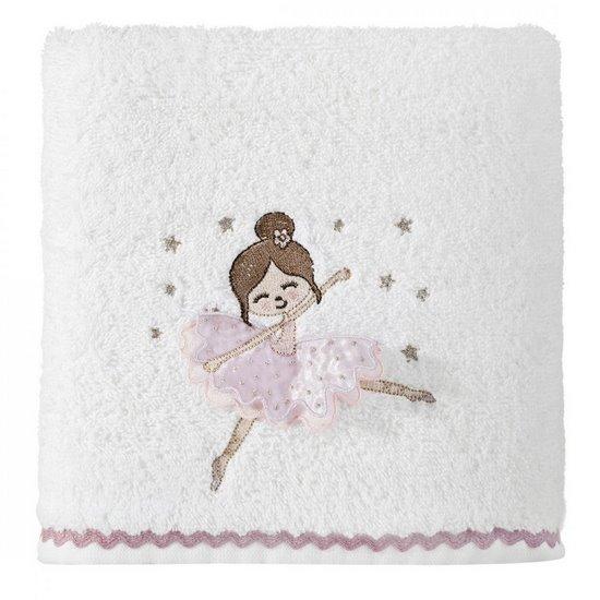 Ręcznik dziecięcy z trójwymiarową aplikacją z dziewczynką 70x140cm - 70 X 140 cm - biały
