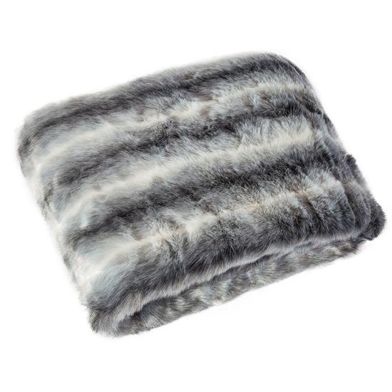 Narzuta na łóżko miękkie futerko pasy 150x180 cm stalowy - 150 X 180 cm