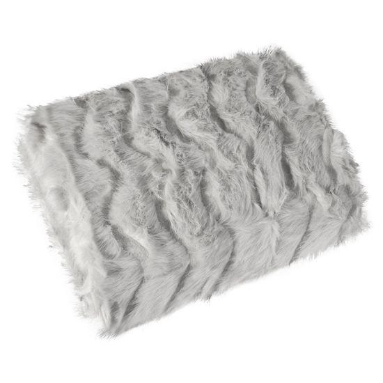 Narzuta na łóżko miękkie futerko 150x180 cm stalowa - 150 X 180 cm - stalowy