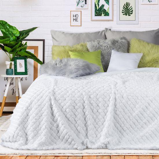 Narzuta na łóżko futerko 170x200 cm biała - 170x200
