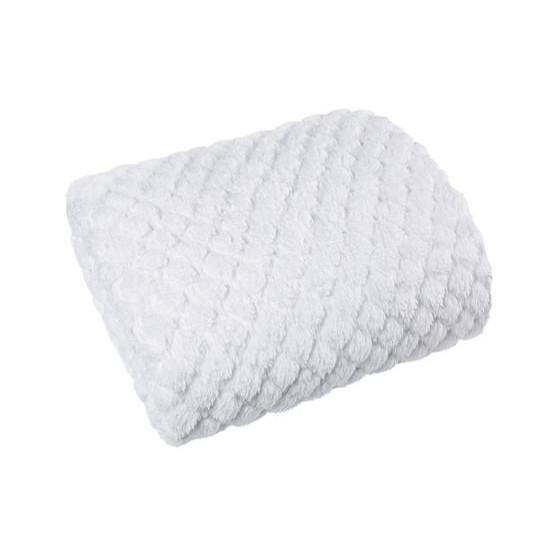 Narzuta na łóżko futerko 200x220 cm biała - 200 X 220 cm - biały