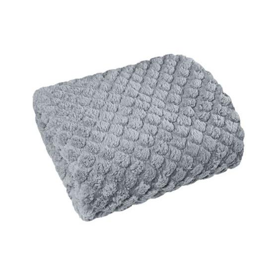 Narzuta na łóżko futerko 200x220 cm srebrna - 200 X 220 cm