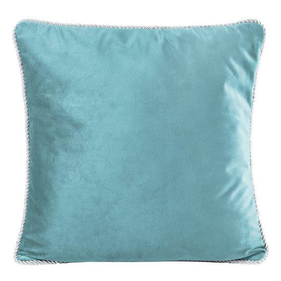Poszewka na poduszkę welwetowa z lamówką 45 x 45 cm turkusowa - 45x45