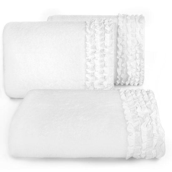 Ręcznik z bawełny z falbankami 50x90cm kremowy - 50 X 90 cm - kremowy