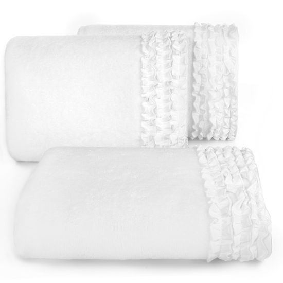 Ręcznik z bawełny z falbankami 70x140cm kremowy - 70 X 140 cm - kremowy