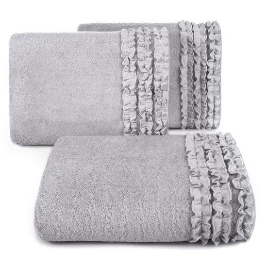 Ręcznik z bawełny z falbankami 70x140cm popielaty - 70 X 140 cm