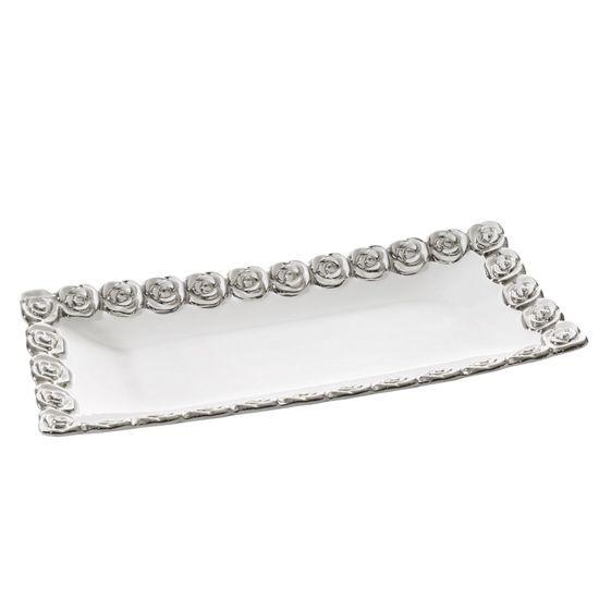 Patera dekoracyjna biała ze srebrnymi różami 45 x 20 x  - 45 X 20 X 5 cm