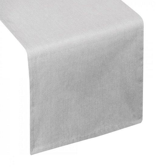 Bawełniany bieżnik do jadalni srebrny gładki 40x140 cm - 40 X 140 cm