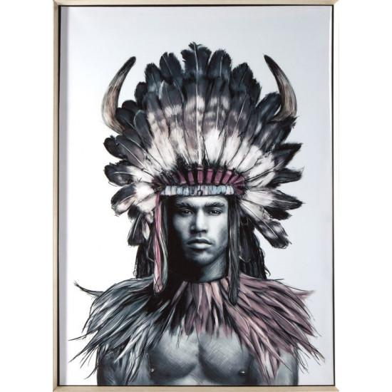 Obraz indianin etno drewno płótno 50 x 70 cm - 50 X 70 cm - biały/wielokolorowy