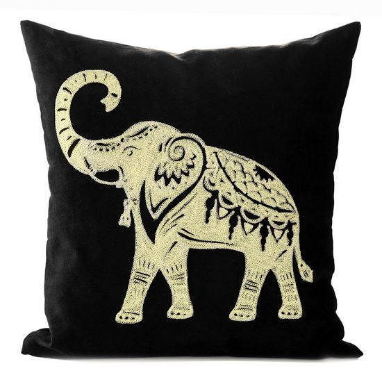 Poszewka dekoracyjna czarna haftowany złoty słoń 45 x 45cm - 45x45 - czerwony