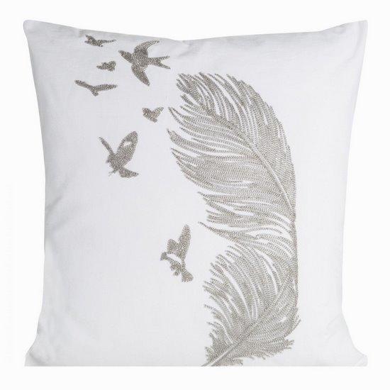 Poszewka na poduszkę 45 x 45 cm biała ze srebrnym piórem  - 45 X 45 cm - srebrny