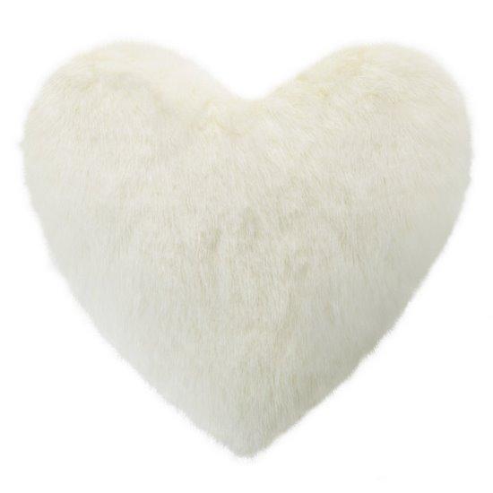Poszewka na poduszkę w kształcie serca kremowa - 40 X 40 cm - kremowy