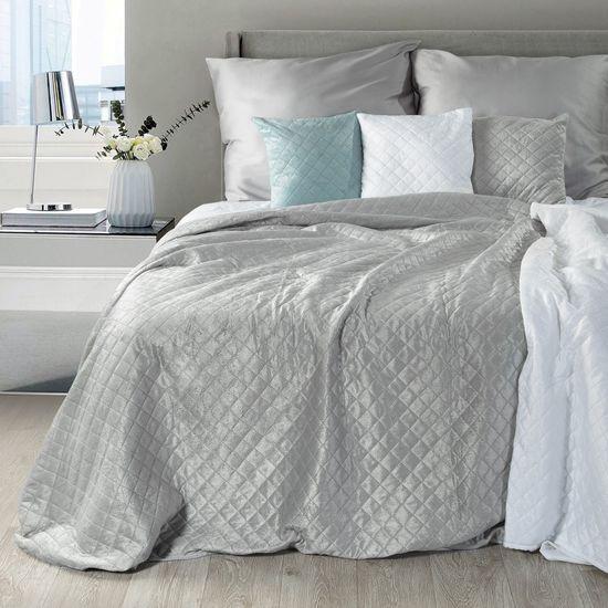 Narzuta na łóżko pikowana hotpress 170x210 cm srebrna - 170 X 210 cm - srebrny