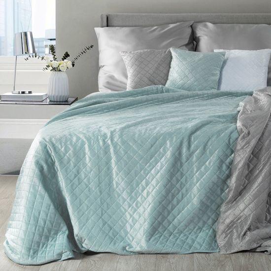 Narzuta na łóżko dwustronna pikowana hotpress 200x220 cm  - 200 X 220 cm - niebieski/srebrny