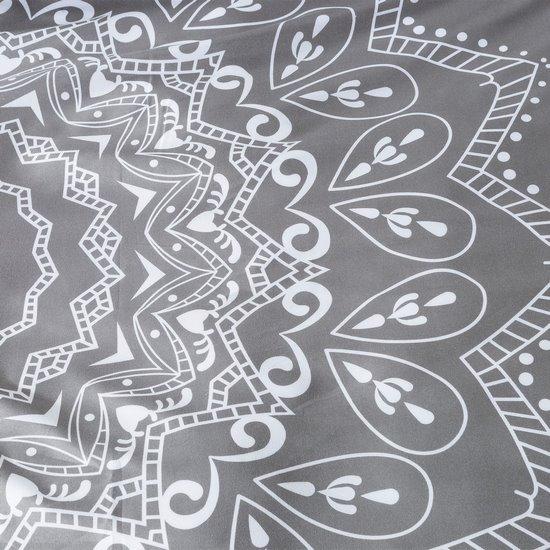 Komplet pościeli z MIKROFIBRY 160 x 200 cm, 2 szt. 70 x 80 cm, szara, biały wzór - 160x200+70x80/2 - srebrny