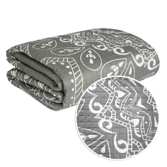 Narzuta na łóżko pikowana hotpress mandala 170x210 cm srebrna - 170 X 210 cm