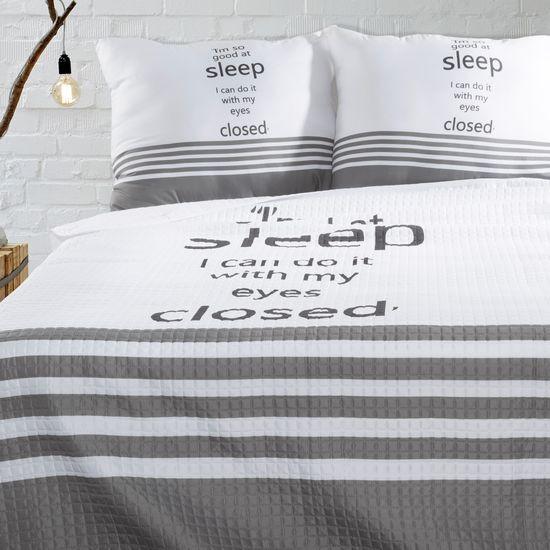 Narzuta na łóżko dwukolorowa z napisem 220x240 cm czarno-biała - 220x240 - biały / czarny
