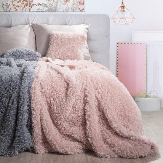 Futerkowy koc patty różowy puszysty 150x200 - 150 X 200 cm