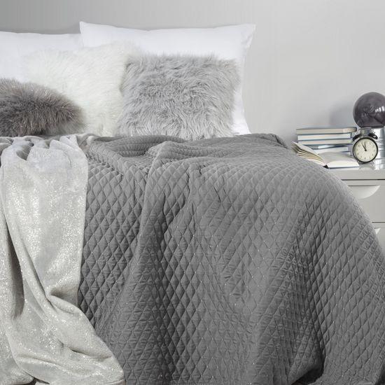 Pikowana narzuta na łóżko stalowy szary 200x220 cm - 200 X 220 cm - stalowy