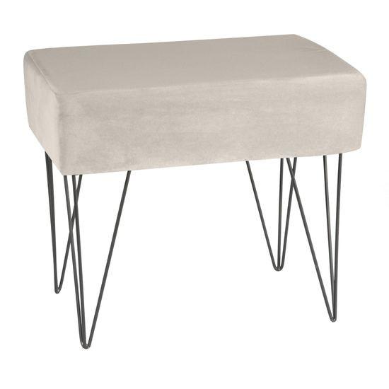 Taboret dekoracyjny metal aksamit beż - 49 X 34 X 41 cm - jasnobeżowy