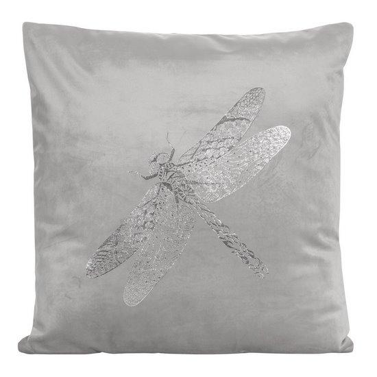 Poszewka na poduszkę srebrna ze srebrną ważką 45 x 45 cm  - 45 X 45 cm - srebrny