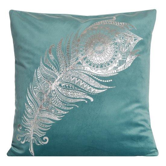 Poszewka dekoracyjna na poduszkę 45 x 45 kolor turkusowy - 45 X 45 cm - turkusowy