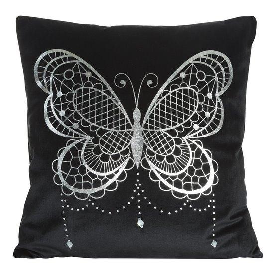 Poszewka na poduszkę czarna ze srebrnym motylem 45 x 45 cm  - 45x45