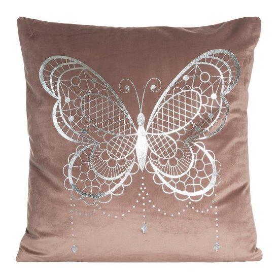 Poszewka na poduszkę różowa ze srebrnym motylem 45 x 45 cm  - 45x45 - różowy