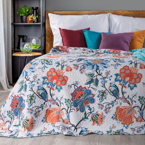 Narzuta pikowana kwiaty 170x210 cm - 170 X 210 cm - biąły/niebieski/czerwony