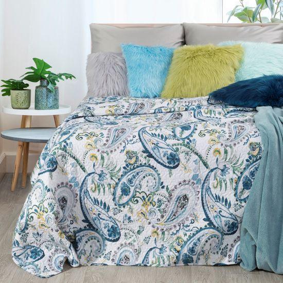 Narzuta na łóżko pikowana hotpress motyw roślinny 170x210 cm biało-niebiska - 170x210