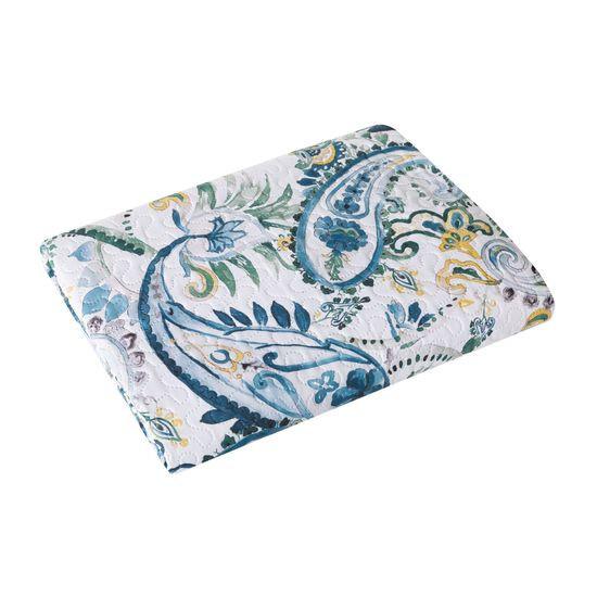 Narzuta na łóżko pikowana hotpress motyw roślinny 170x210 cm biało-niebiska - 170 X 210 cm - biały/niebieski/żółty