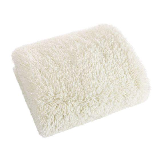 Narzuta na łóżko puszyste futerko 150x200 cm kremowa - 150x200