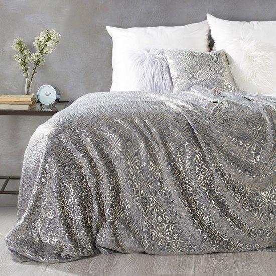 Elegancki koc z ornamentem stalowy i złoty 150x200cm - 150 X 200 cm - stalowy/złoty