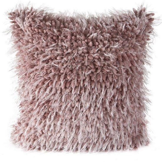 Poszewka na poduszkę 40 x 40 cm włochata różowa  - 40 X 40 cm