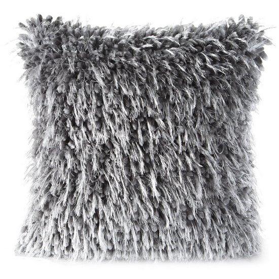 Poszewka na poduszkę 40 x 40 cm włochata stalowo szara  - 40 X 40 cm - stalowy