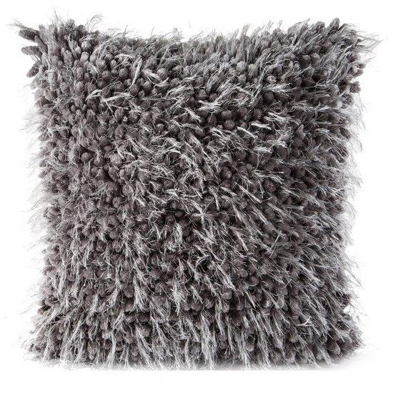 Poszewka na poduszkę 40 x 40 cm włochata grafitowa  - 40 X 40 cm