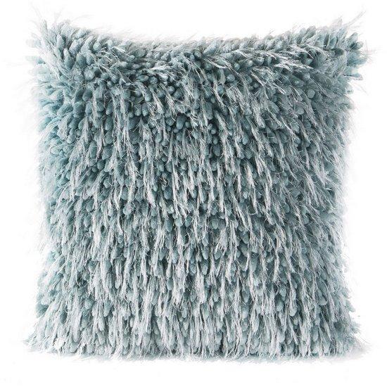 Poszewka na poduszkę 40 x 40 cm włochata turkusowa  - 40 X 40 cm
