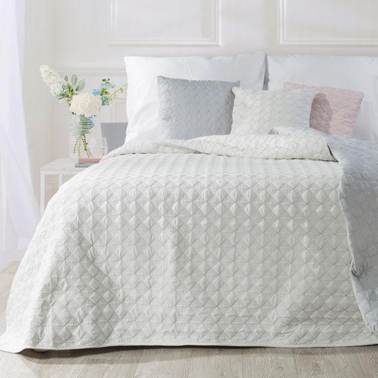 Narzuta na łóżko pikowana srebrna nić 170x210 cm biała - 170 X 210 cm - biały