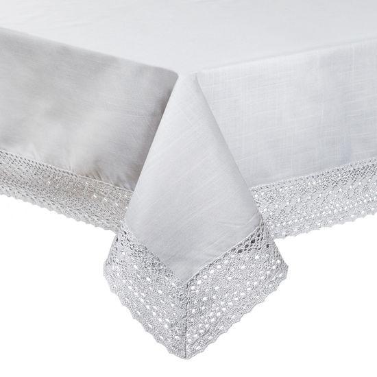 Srebrny obrus do jadalni z gipiurą 150x300 cm - 150 X 300 cm - Srebrny