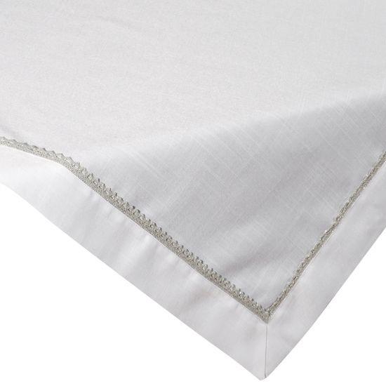 Biały elegancki obrus z aplikacją koronka 85x85 cm - 85 X 85 cm