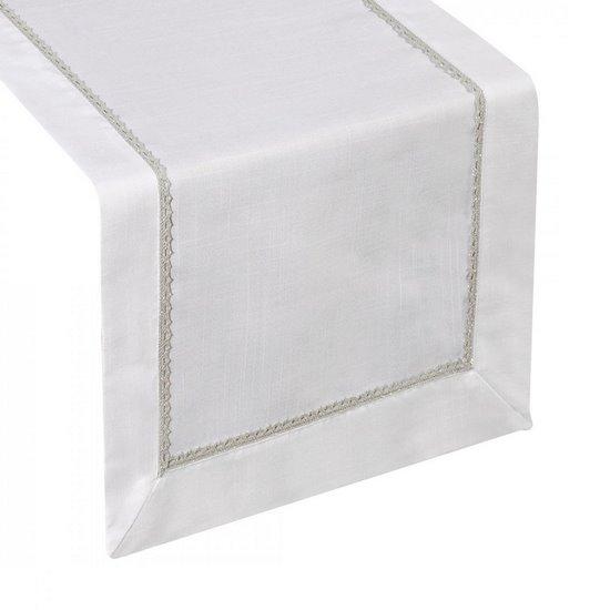 Biały elegancki bieżnik aplikacja koronka 40x140 cm - 40 X 140 cm