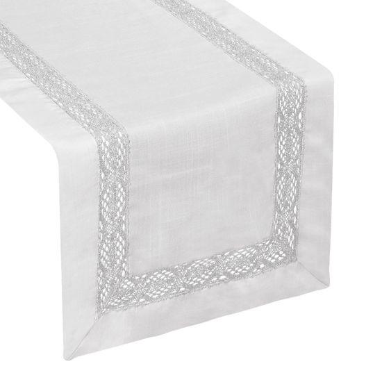 Srebrny bieżnik z aplikacją z gipiury 40x140 cm - 40 X 140 cm - biały/srebrny