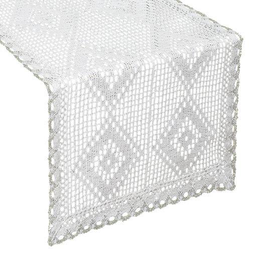 Koronkowy bieżnik na stół biały srebrny 40x140 cm - 40 X 140 cm - biały
