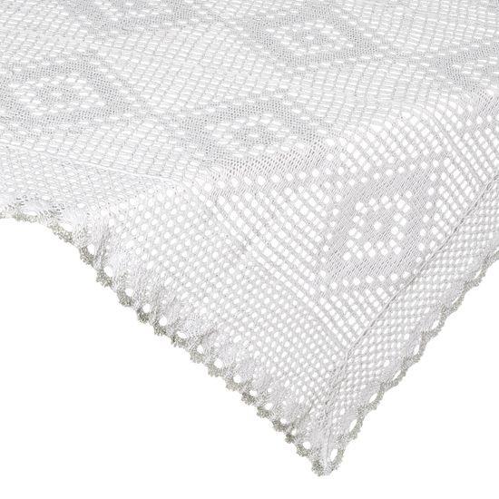 Koronkowy obrus na stół biały srebrny 85x85 cm - 85 X 85 cm